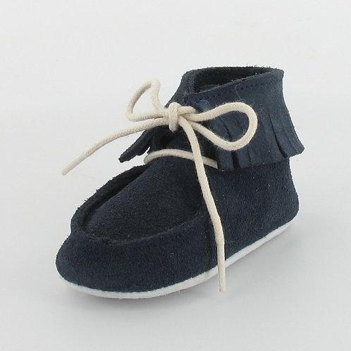 Chaussons bébé en cuir à franges - Le Petit Fils du Cordonnier
