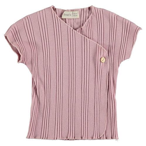T-shirt rose avec bouton - 100% coton organique - Bean's Barcelona