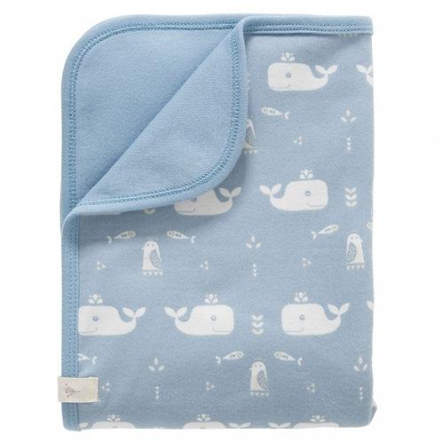 """Couverture bébé en coton bio """"baleines"""" - Fresk"""
