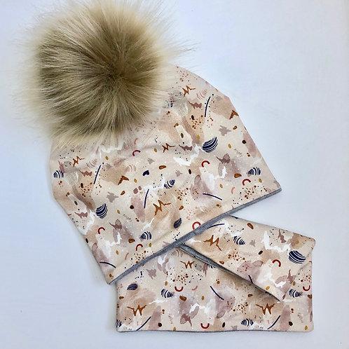 Set bonnet pompon + Snood - UL&Ka