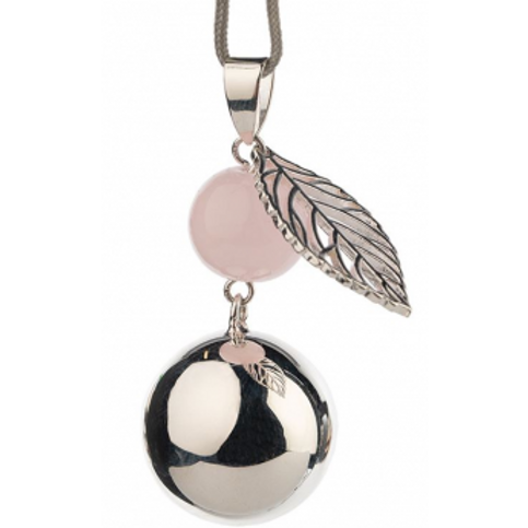 Bola argentée avec feuille et pierre rose - Babylonia