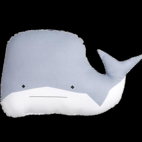 Coussin animal Baleine en coton bio Bleu - Fabelab
