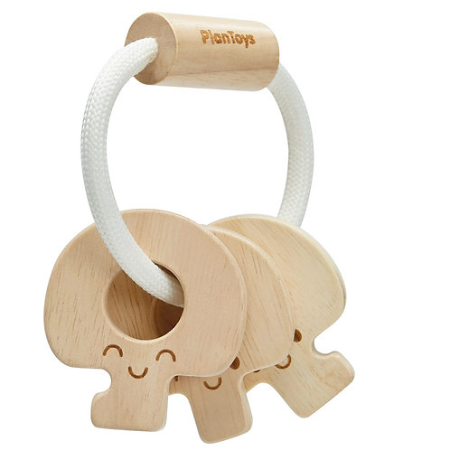 Hochet clés en bois naturel - Plan Toys - Liste Toma - Van Landschoot