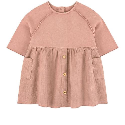 Robe rose poudré bi matière - Play Up
