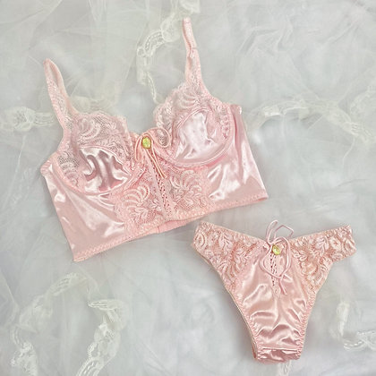 Delicate pink satin & lace french lingerie set