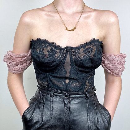 Delicate old pink & black lace bustier