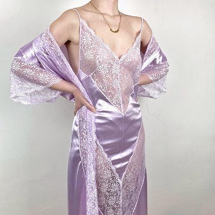 Charming lavender satin & lace dress & negligee set