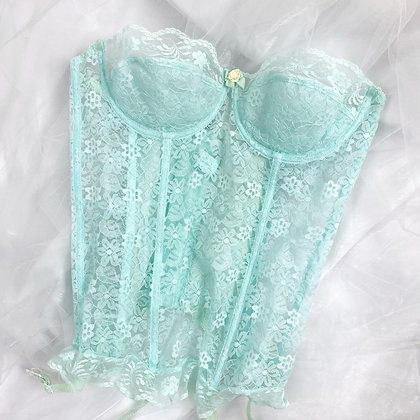 Angelic blue lace French bustier