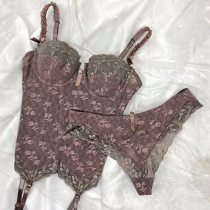 Brown bustier set with satin floral print