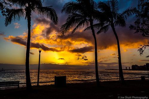 Waikiki Sunset Aluminum Print