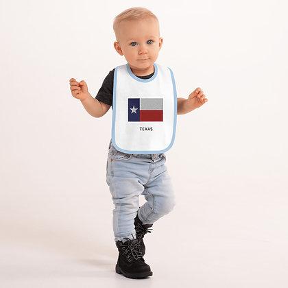 Embroidered Baby Bib Texas Flag