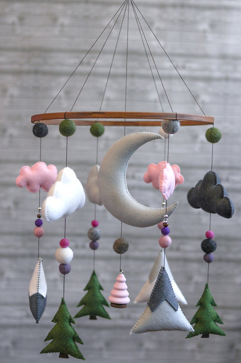 PINK AND GREEN | WOODLAND MOBILE