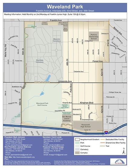 Waveland Park Neighborhood Extents - Des Moines, IA