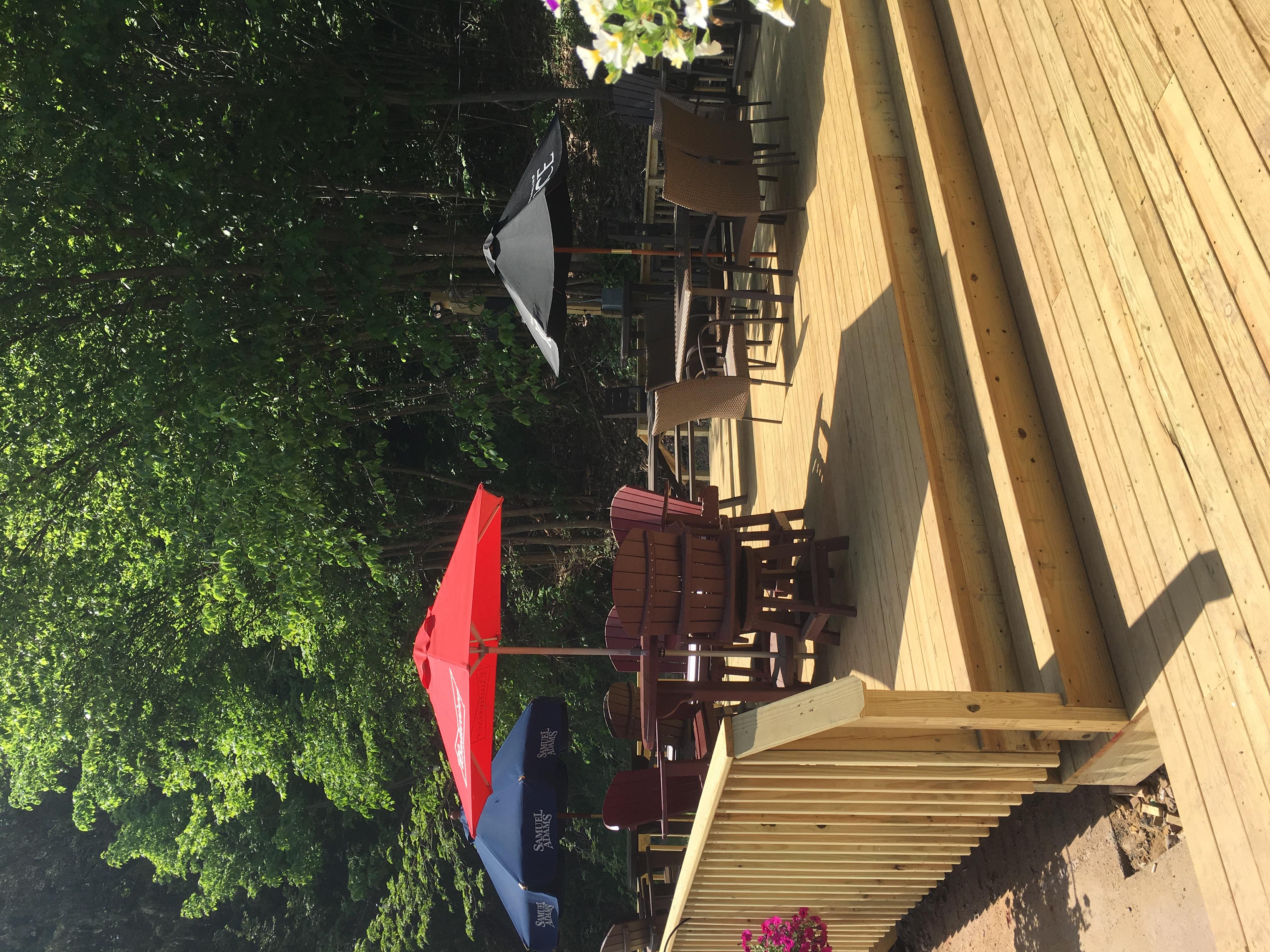 Outdoor umbrella seating