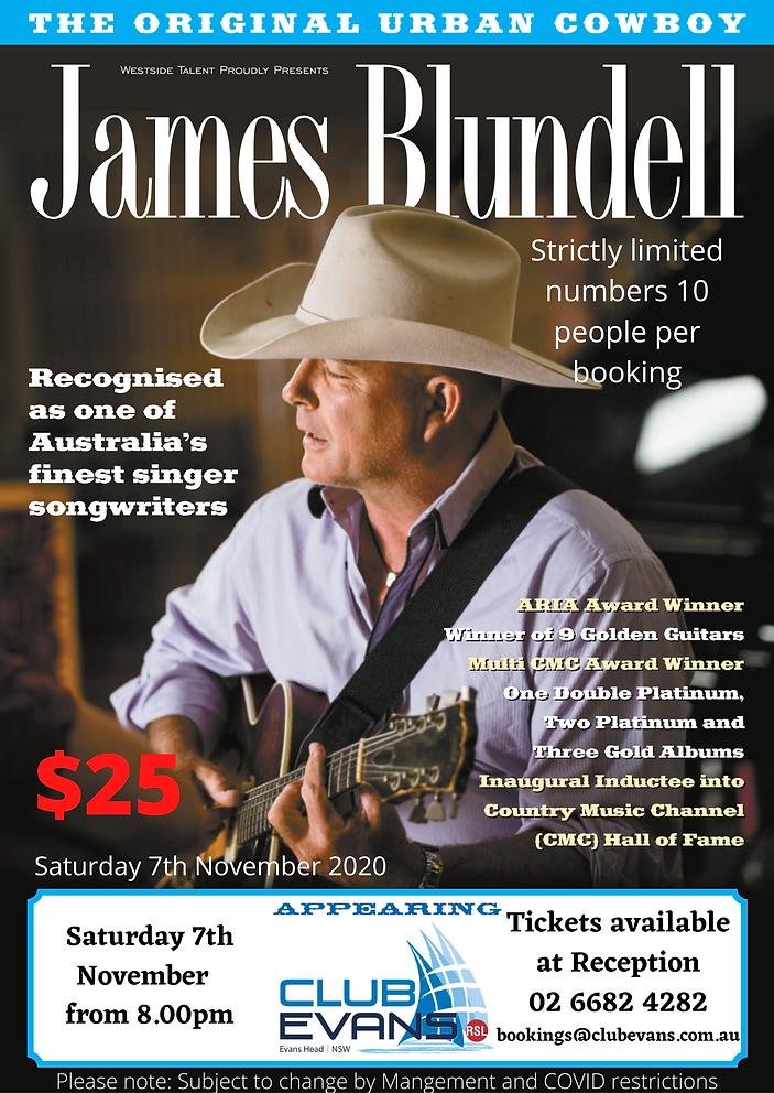 James Blundell poster Saturday 7th Novem