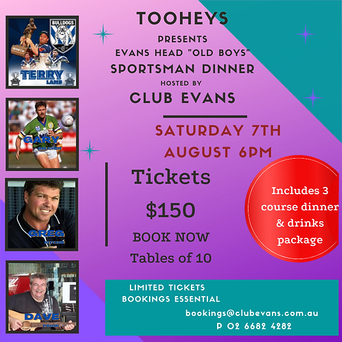 TOOHEYS - SPORTSMAN DINNER