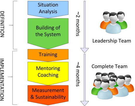 Produs Project Structure - situation analysis, building the system, training, mentoring, coaching