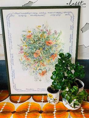 Grote lijst met geborduurde bloemen