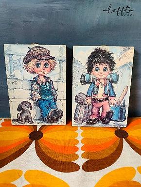 Set van twee 70's schilderijtjes Falconi