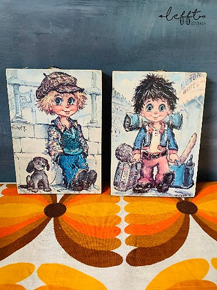 Set van twee 70's schilderijtjes
