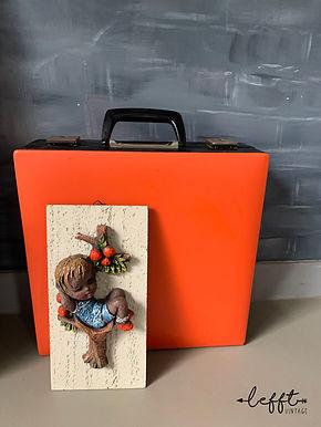 Retro Platenkoffer Oranje met Zwart 70's