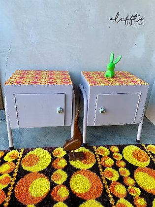 Vintage Nachtkasten Set Retro Kleuren