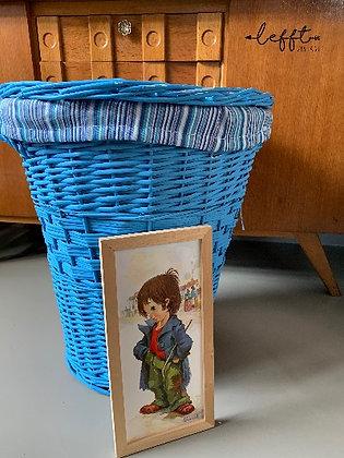 Vintage Rotan Wasmand Blauw