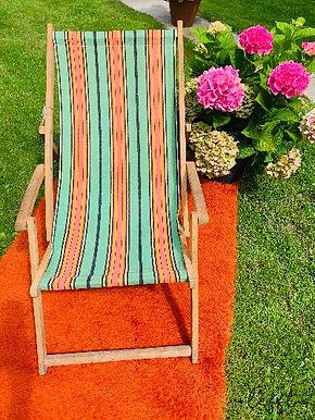 Vintage Houten Tuinstoel Retro Kleuren