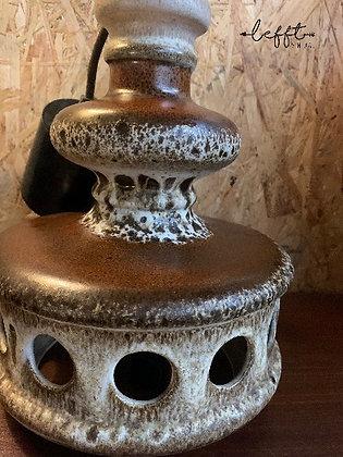 Vintage bruine keramieke hanglamp