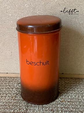 Retro Brabantia Beschuitbus Bruin/ Oranje