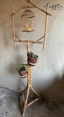 Vintage Rohe rotan plantenstandaard