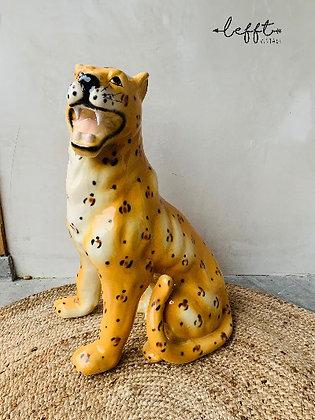 Vintage Cheetah Beeld Van Keramiek