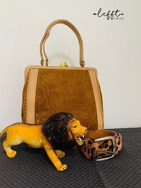 Vintage handtas met ribstof