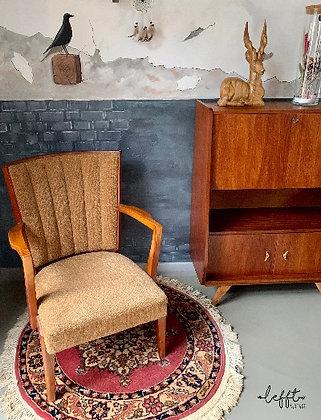Okergeel Vintage Fauteuil Houten Frame Jaren 50
