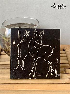 Vintage Tegel Met Hert Bambi