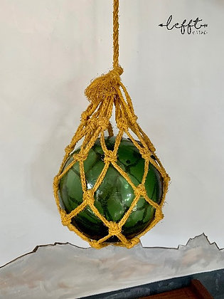 Vintage 70's  Glazen Bol In Macramé Net