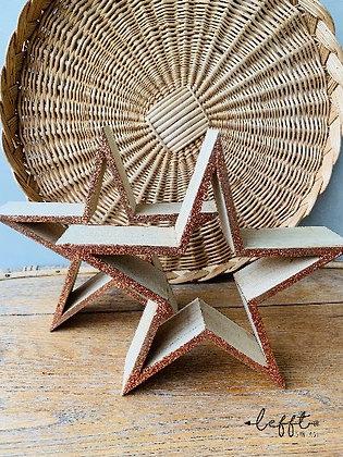 Set houten kerststerren met glitter