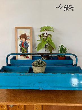Vintage Lichtblauwe Gereedschapskist Metaal