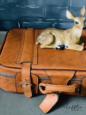 Leren bruine  koffer