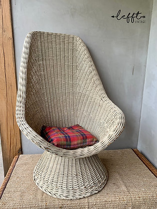Vintage Boho Rieten Stoel Hoge Rug