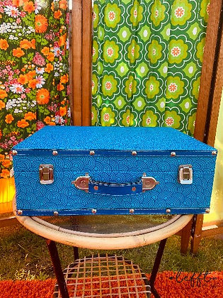 Retro blauwe koffer