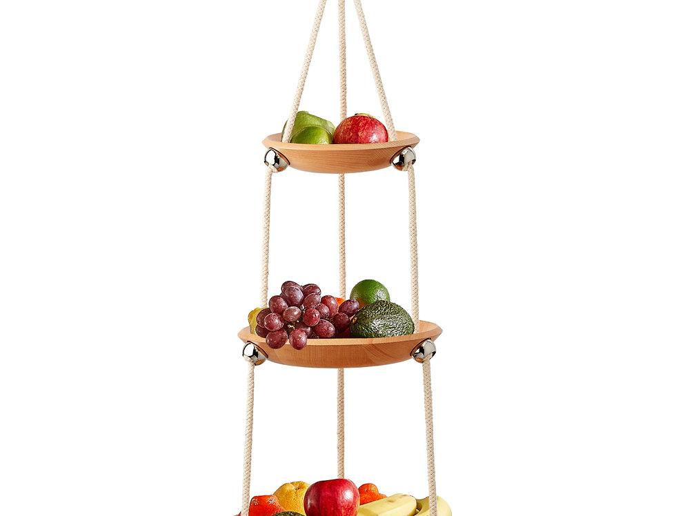 """The Flaunt"" Hanging Fruit Bowl - Beech Wood"