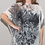 Thumbnail: Chiffon abstract feather pattern in shades of black, gray and white.
