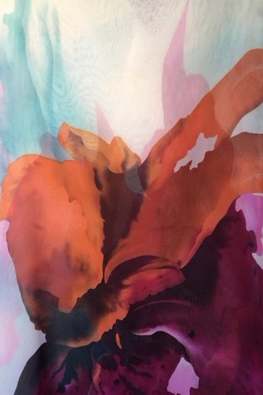 Chiffon large scale abstract floral in shades of orange, rust and purple.