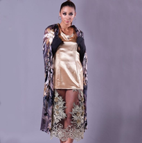 Gold gown with attached cape