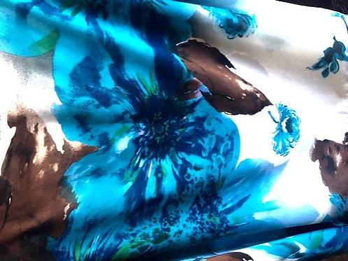 Blue floral chiffon