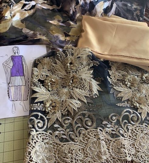 Design & fabrics for gold gown