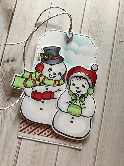 Snowman Couple Christmas Gift Tag