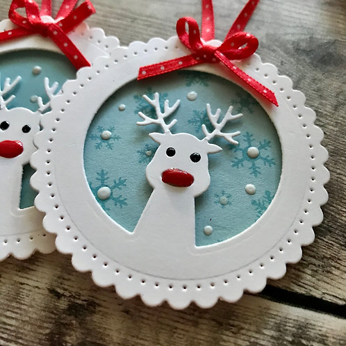 Set of Two Rudolph Gift Tags