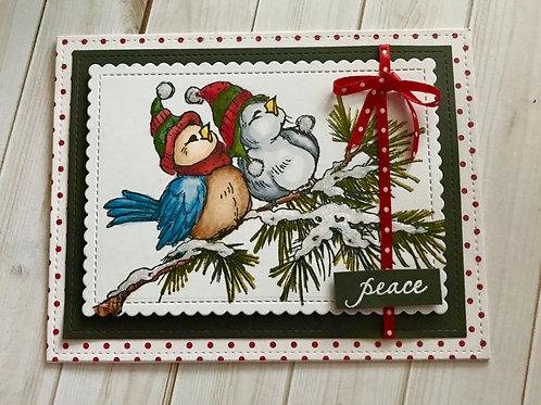 Peaceful Winter Birds Christmas Card